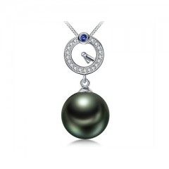 18k Tahiti Pearl, Blue Sapphire and Diamonds