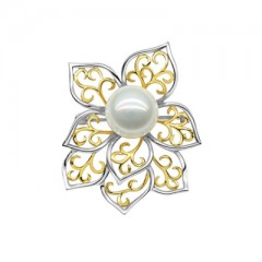 18k Yellow and White Gold with South Sea Pearl