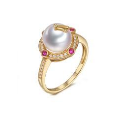 18k South Sea Pearl, Rubies and Diamonds