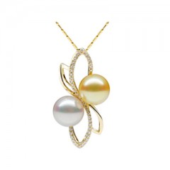 18k White and Yellow Pearls with Diamonds